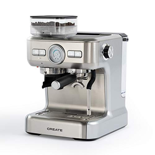 IKOHS THERA Advance - Cafetera Express Automática, Cafetera para Espresso y Cappuccino, 20 Bares, 1620W, Molinillo de Café Cónico, Vaporizador Orientable, Doble Control de Temperatura, 2,7L, Gris