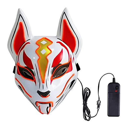 BESLIME Neon Masque Lumière,Masque De Forteresse d'Halloween Masque De Renard Du Ciel Effrayant Masque Complet LED Lumière Froide Cosplay