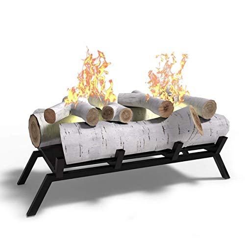 Regal Flame 18' Ethanol Fireplace Grate Log Set with Burner Insert for Easy Conversion from Gas Logs, Gel, Wood Log, Electric Log, Electric Fireplace Insert or Wood Burning Fireplace Insert (Birch)