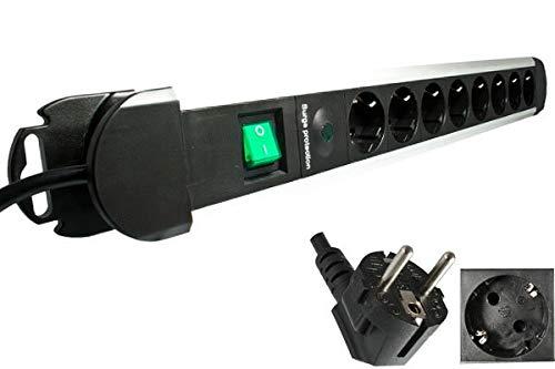 DINIC Steckdosenleiste mit Überspannungsschutz und Schalter (8-Fach, alu)