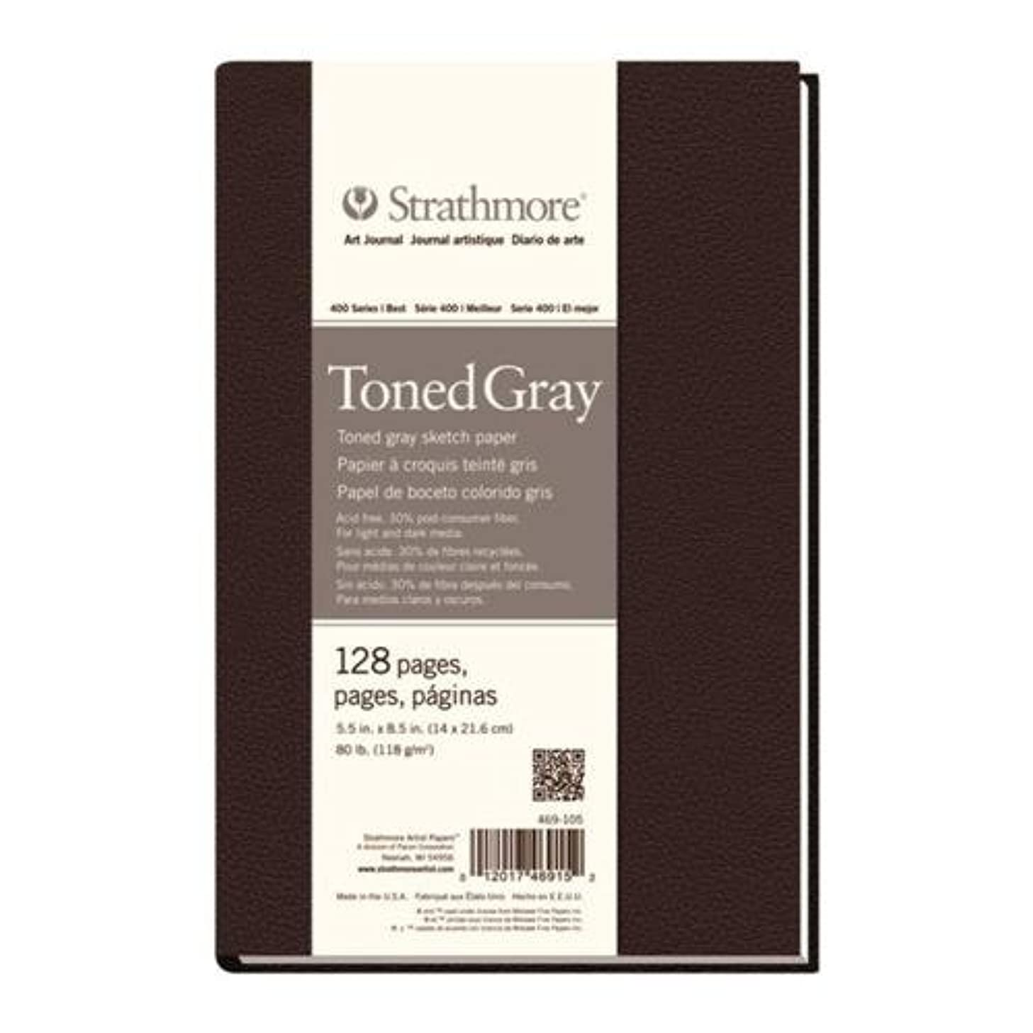 Strathmore ((469-105 STR-469-105 128 Sheet No 80 Toned Gray Art Journal, 5.5 by 8.5