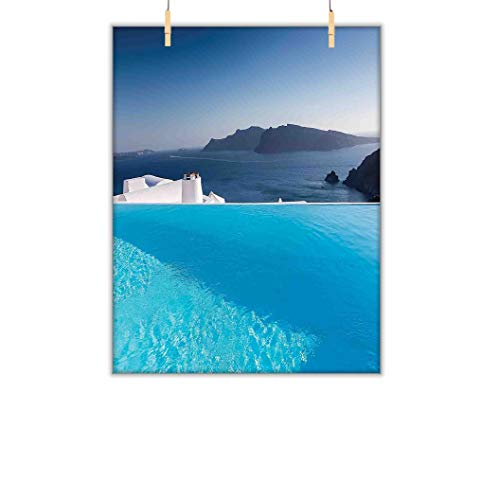 House Decor Custom Canvas Print, Luxury Resort Swimming Pool in Santorini Griechenland, Mediterranes Panorama, Fotodruck, Bild, Raumdekoration, Heimdekoration, 50,8 cm B x 68,9 cm L