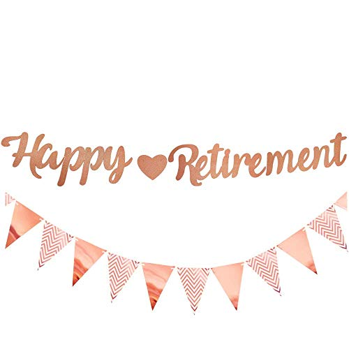 Happy Retirement Banner, Rose Gold Retirement Party Decoration The Legend Has Retired Banner with Bunting Flags Ideal for Women Man Retirement Party Supplies