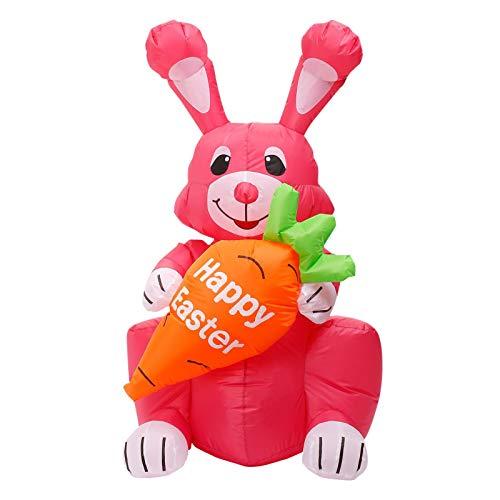 N/Z Decoración hinchable de conejo de Pascua para jardín, decoración inflable automática, luz LED integrada