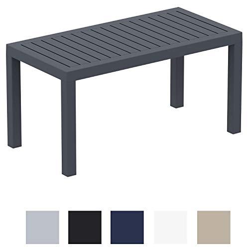 CLP Lounge Tisch Ocean I Wetterfester Gartentisch aus UV-beständigem Kunststoff I wetterfest und UV-beständig I robuster Gartentisch Dunkelgrau