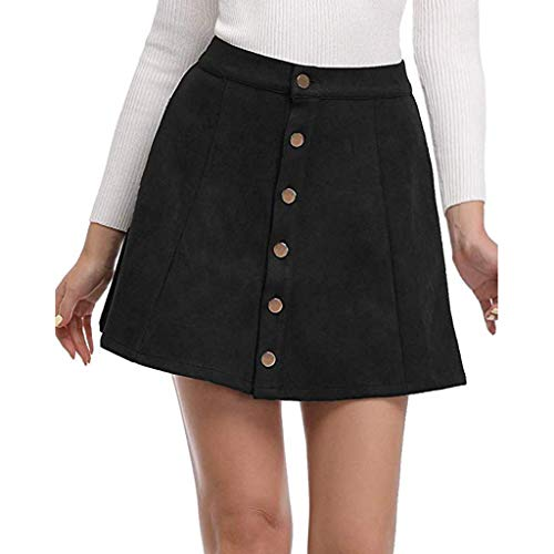 Great Deal! Qiujold Women's Junior High Waist Faux Suede Button Closure A-Line Mini Short Skirt (XL,...