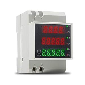 KETOTEK Voltímetro Amperímetro Digital AC 80-300V 100A Medidor de Voltaje Corriente Potencia Energia Electrica Medidor de Consumo Electrico Carril Din Multímetro Probador de Energía