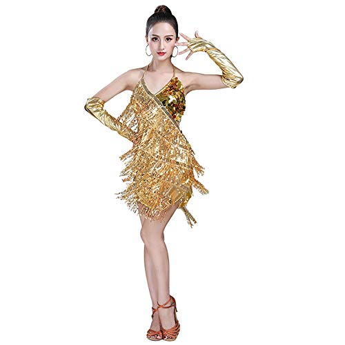 Gtagain Latein Tanz Kleider Franse Röcke Damen - Mädchen Pailletten Kleider Bekleidung Tanzkleid Kostüm Turnierkleid Salsa Kleid Tango Samba Rumba Ballsaal Cha Cha