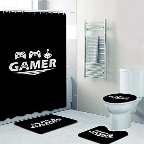 Juego De Cortinas De Baño De Juego De Videojuegos Geniales para Gamer Not Geek I'm A Gamer con Alfombra De Bañopara Cortina De Ducha De Bañera, Juego De 4 Piezas, 180 * 180 Cm