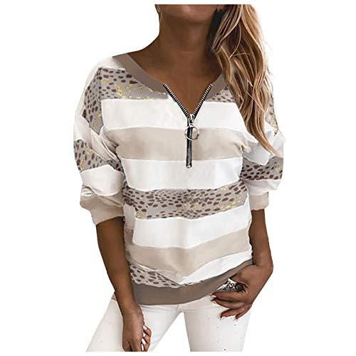 Damen T-Shirt Langarm Streifen Sweatshirt Zipper V-Ausschnitt Shirt Urlaub Tee Sanft Hautfreundlich Schlank Frauen Tops Grau Weiß Blau Braun Rot Dunkelgrau Pullover Bluse Damen Tunics Tshirts XIAOYUER