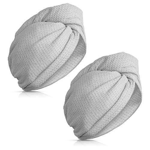 Navaris 2x Turbante per capelli in microfibra - Asciugamano con bottone per asciugatura rapida - Set asciugamani testa panno asciugacapelli - grigio