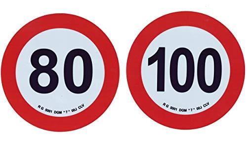 1 paar zelfklevende stickers LIMITE VELOCITA 80 km/h 100 km/h toelating voor PESANTI - diameter 20 cm