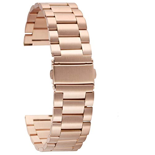 DFKai1run Correa de acero inoxidable, Sólida de acero inoxidable Correa 20mm 22mm ultra-delgado reloj del metal del acoplamiento de la venda de la pulsera broche plegable correas de reloj barras del r