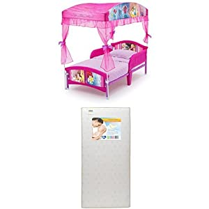 Delta Children Canopy Toddler Bed, Disney Princess with Twinkle Stars Crib & Toddler Mattress