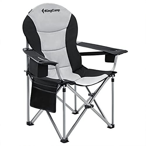 KingCamp Chaise Pliable de Camping Chaise de Plage Pliante Siège de Luxe à Support Lombaire avec Sac Isotherme & Support de Tasse d'Accoudoir pour Pique-Nique Plage Randonnée Pêche