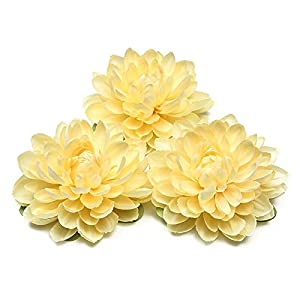 Artificial and Dried Flower Artificial Dahlia Silk Flower Handmade Wreath DIYBox Scrapbooking Craft Fake Flowers Faux Flowers for Wedding Decoration – ( Color: Yellow )