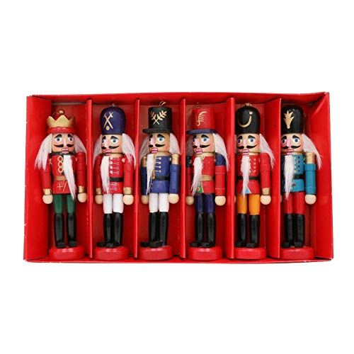 Rusisi Christmas Decorations Sale,Merry Christmas 6Pcs Mini Wooden Nutcracker Doll Soldier Christmas Ornaments Xmas Gifts Decor for Christmas