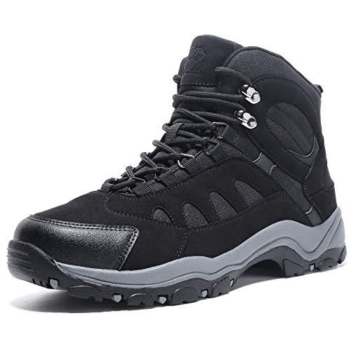 CAMEL CROWN Botas de senderismo de los hombres antideslizantes aisladas botas de nieve de invierno para hombres con piel para trabajo al aire libre trekking caminar, Negro, 10