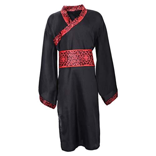 dailymall Chinesische Herren Han Kleidung Hanfu Ancient China Cosplay Anzug Robe Kostüm - XL
