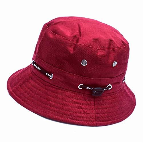 ZARRS Cappello da Pesca,Boonie Hat Cotone Protezione UV Cappello Pescatore per Uomo Donna Campeggio per Esterni Escursionismo Pesca Golf 56-58cm Rosso