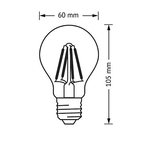 Osram LED Star Classic A, in Kolbenform mit E27-Sockel, Nicht Dimmbar, Ersetzt 60 Watt, Filamentstil Klar, Warmweiß – 2700 Kelvin, 6er-Pack - 4