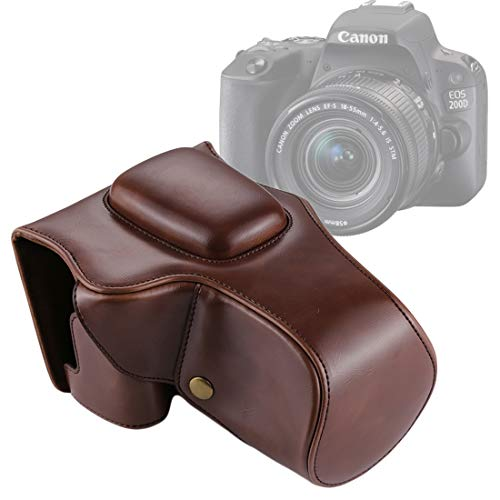 QIAOZHOO Full Body Camera PU Leather Case tas for Canon EOS 200D (18-55 mm lens) (zwart) (Color : Coffee)