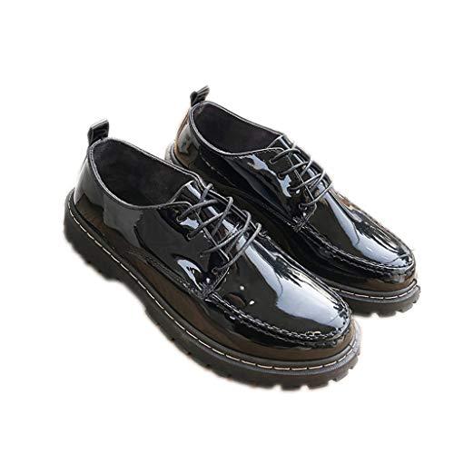 WggWy Zapatos de piel sintética para hombre, modernos, cómodos, para el tiempo libre, transpirables, resistentes al desgaste, de un solo color, cabeza redonda, color negro, 40