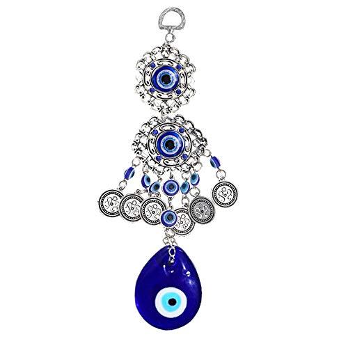 Aweisilee Mal de Ojo Colgar en la Pared 1 Pedazo Colgante de Pared de Vidrio Azul Colgante de Pared de Cristal Turco para el Dormitorio Adorno Amuleto Dormitorio Oficina