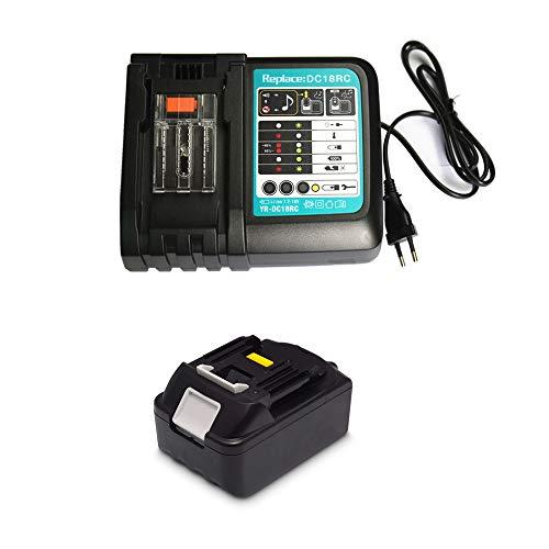 18V 3.0Ah Ersatz Akku mit Ladegerät für Makita Baustellenradio DMR110 DMR112 DMR115 DMR108 DMR107 DMR106 DMR109 DMR100 DMR102 DMR104 DMR101 BMR100 18 Volt Radio Batterie