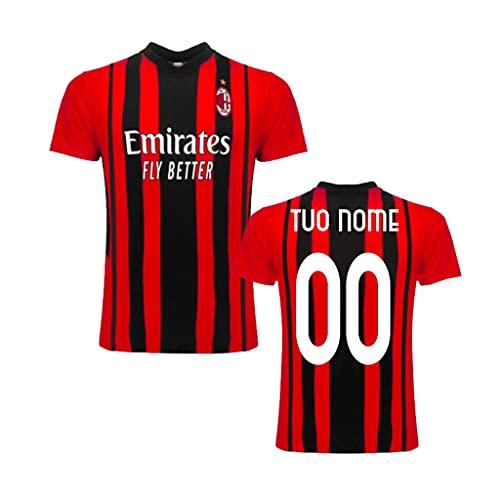 """Maglia Replica Home ROSSONERA CASA Ufficiale """"Nome+Numero Personalizzato Personalizzabile"""" A.C. Milan 2021/2022 (Ibrahimovic, KESSIE, Theo, LEAO, TOMORI) Adulto Bambino (L)"""