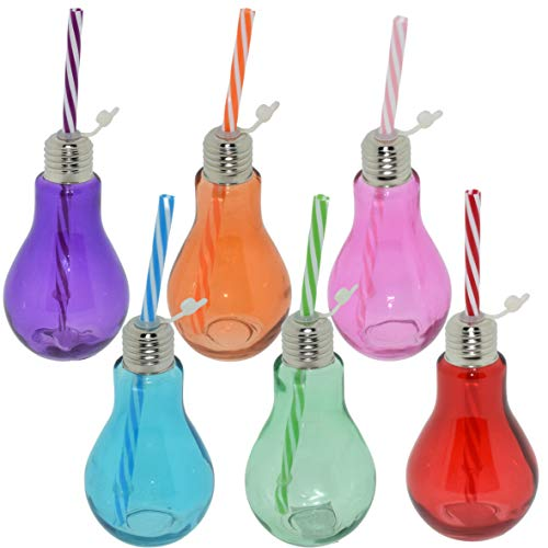 Creofant - Set di 6 bicchieri colorati con cannucce, a forma di lampadina, a forma di lampadina a incandescenza