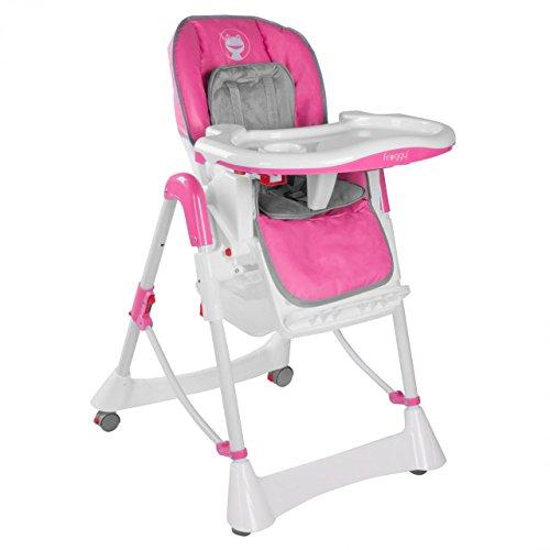 Froggy Kinderhochstuhl Babyhochstuhl mit Sicherheitsgurt Großem Esstisch Höhenverstellbar Zusammenklappbar Kinderstuhl Babystuhl Hochstuhl Stuhl Pink