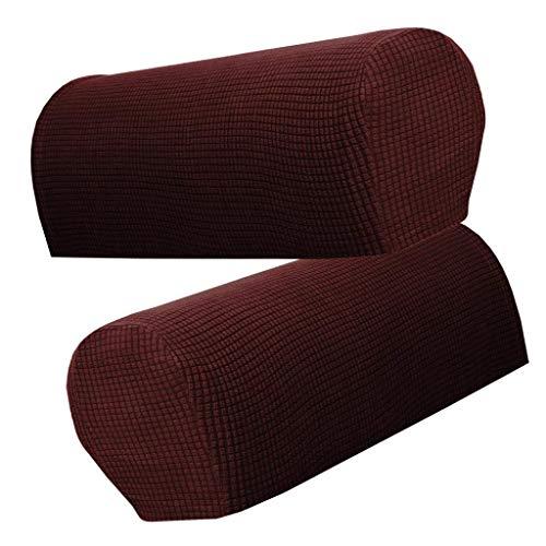 HANHAN 1 Paar Sofa-Armlehnenschutz, Premium-Fleece, rutschfest, Armlehnenbezüge, elastische Armlehnenschutzkappen für Sessel & Sofa (Kaffee)