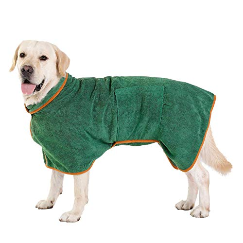 SUEWIO Dog Bathrobe Towel, Dog Fast Drying Dog Dryig Coat with Adjustable Strap, Super Absorbent Microfiber Material Pet Drying Moisture Absorbing Bathrobe with Hook and Loop