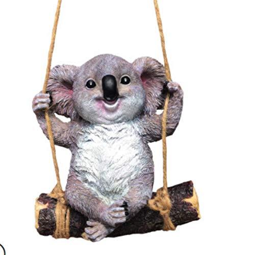 HJUYV-ERT Estatuas y esculturas Decoración al Aire Libre para jardín, jardín Decoración de Patio Simulación Koala Columpio Estatua Escultura de Animales Adorno de Resina