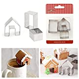 3Pcs Christmas House Cookie Cutter Set, Mini Ginger House Stainless Steel Cookie Cutter, Chocolate Little House Biscuit Mold, DIY Baking Decorating Tools