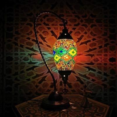 JGHH Lámparas de Mesa para Sala de Estar Nuevo Mosaico Turco Cisne Lámpara de Mesa Vintage Art Deco Handcraft Lamparas de Mesa Mosaicos Vidrio Romántico Cama Lámparas Lamparas con