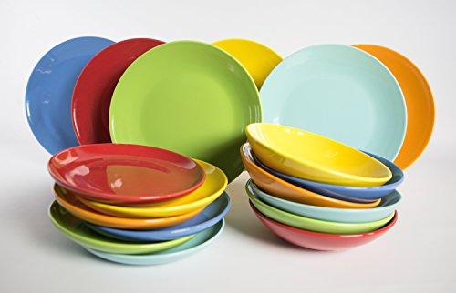 Kaleidos Service de vaisselle en grès 18 pièces Modèle Multicolor.