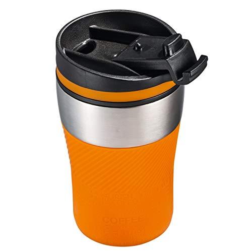 Thermobecher to go Kaffeebecher unterwegs 230 ml doppelwandig Farbe orange, silber