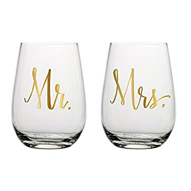 Slant Mr & Mrs Stemless Wine Glasses- Set of 2