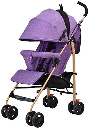 OESFL Cochecito de bebé Cochecito de viajes for el infante recién nacido del niño Cochecito plegable ligero del cochecito de bebé de los niños de viaje Cochecito de 5 puntos Sistema de Seguridad púrpu