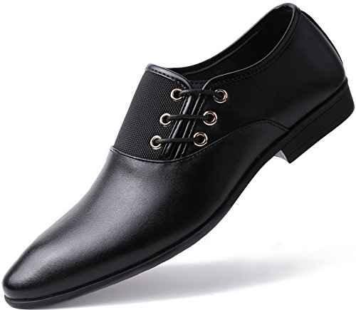 Marino Oxford Dress Shoes for Men - Formal Leather Mens Shoes - Black - Side Lace - 8.5 D(M) US