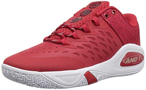 AND 1 Men's Attack Low Basketball Shoe, Chinese red/Super foil/White, 10 M US