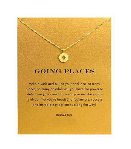 Baydurcan Friendship Compass Necklace Unicorn Good Luck Elephant Cross Necklace with Message Card Gift Card (gold compass)