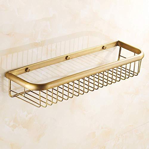 Cesta de ducha de esquina de ducha de ba?o montada en la pared de cobre dorado antiguo, cesta de ducha rectangular de latón duradera, soporte organizador de cocina a prueba de herrumbre para champú co