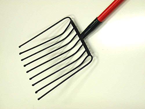 Ergonomic Tines Forged Pitch Fork,Professional Welded Bedding Fork,Forged Ensilage Manue Fork-Heavy Duty Long Fiberglass Handle, Overall in Length 63' or Over.