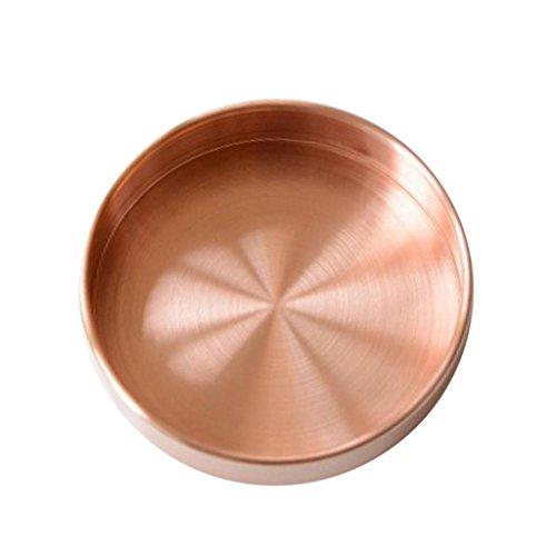 VANKOA Servierplatte Serviertablett Rund Dekoteller Dekotablett Tortenplatte für Schreibwaren, Parfüm, Cupcakes - Roségold S