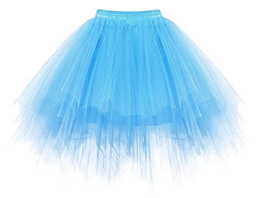 HomRain Tüllrock Karneval Kostüm 50er Rockabilly Petticoat Tutu Unterrock Kurz Ballet Firt Tulle Tanzkleid Ballkleid Abendkleid Gelegenheit Zubehör Fasching Cosplay Underskirt Blue S