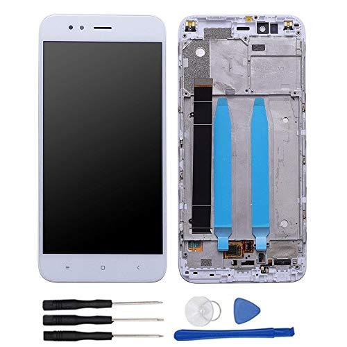 soliocial Asamblea Reemplazo Pantalla LCD Pantalla Táctil Vidrio para Xiaomi Mi A1 MiA1/ Mi5X Mi 5X 5.5'' Blanco con Marco