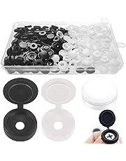 xianzhanEU 200 stuks schroeven afdekkapjes, hoogwaardige kunststof schroefafdekking ter bescherming van schroeven, met doos (zwart/wit)